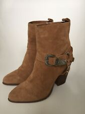 RIVER ISLAND LIGHT TAN SUEDE ANKLE BOOTS SIZE UK 7/ EU 40 EXC COND
