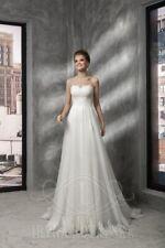 Brautkleid Hochzeitskleid Spitze mit Schleppe Herzausschnitt Korsage Schnürung