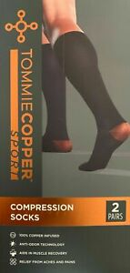 Tommie Copper Sport 01-63182 Black Compression Socks 2 Pairs L/XL Large / XLarge