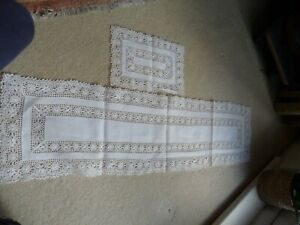Vintage Two White Linen and Crocket Rectangle Dressing Table clothes