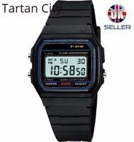Replacement Casio F-91w Style Wrist Watch Retro Digital - Black - UK Seller