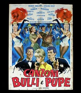 CANZONI BULLI E PUPE manifesto poster Franchi Ingrassia Musical Chitarra D15