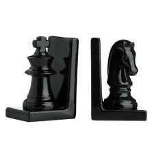 Set of 2 Chess Piece Bookends, Black Ceramic
