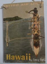 United Airlines Hawaii Vintage Retro Advertising Travel Poster on Wood Sign