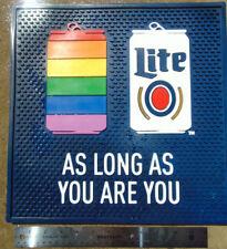 "Large MILLER LITE 14"" x 14"" Rubber Bar Mat Brand New LGBT Rainbow GAY PRIDE Rare"