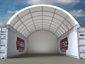 NEW 40ft x 20ft Shipping Container Dome Shelter with End Wall ORP $5,953