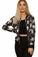 Floral Bomber Jacket Ladies Long Sleeves Rose Print Zip Up Crew Neck Coat Top