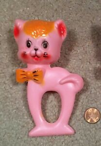 VINTAGE PINK PLASTIC CIRCA 1950'S CAT BABY RATTLE - NEW OLD STOCK