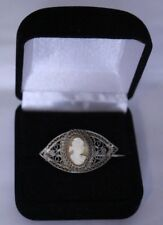 early 1800s Antique  Sterling Silver Cameo brooch pin