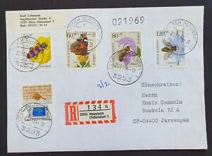 Insect Cover 1984 from Germany to Finland Registered - Topical Stamps Flowers