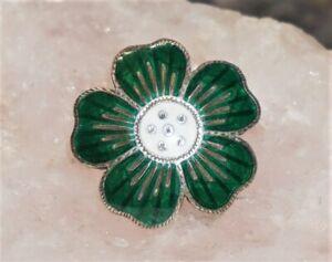 "Vintage SIAM Sterling Silver Enamel Green Flower Button 3/4"" Signed VILAI RARE"
