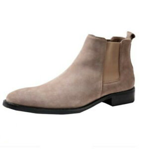 Retro Mens Real Suede Leather Chelsea Boots Shoes Pull on Chukka Fur Inside 45 L
