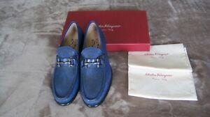 NIB SALVATORE FERRAGAMO Mason 3 Lizard royal blue shoes size 9EE