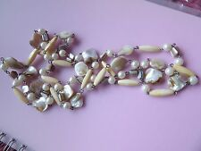 GORGEOUS MOTHER OF PEARL FAUX PEARL & PLASTIC BEAD ON CHAIN EXTRA LONG NECKLACE
