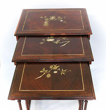 3pc. Set French c1900 Mother of Pearl inlay hand painted Stacking Nesting Tables