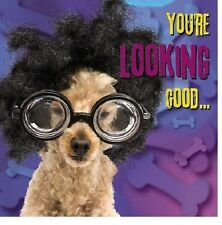 Funny Dog In Glasses Luxury 3D Holographic  Birthday Greeting Card Dog Lovers