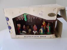 vintage Christmas Shiny Brite NATIVITY SET with original box LARGE Size 10x5.5x4