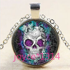 Sugar Flower Skull Cabochon Tibetan silver Glass Chain Pendant Necklace #3636