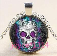 Sugar Flower Skull Cabochon Tibetan silver Glass Chain Pendant Necklace #3636