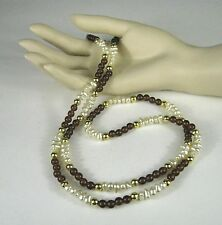 Necklace String Strand Faux Pearl Gold Tone Color Size 34 Inch Long Brown