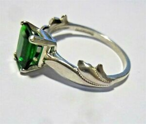 Emerald Cut Green CZ  Sterling Silver Ring Size 7