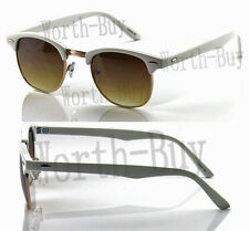New Mens Womens Horn Frame Sunglasses Retro Vintage 80s Clubmaster Metal Accent