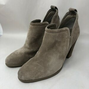 Vince Camuto Francia Womens Size 10M Brown Suede Ankle Bootie Stacked Heel