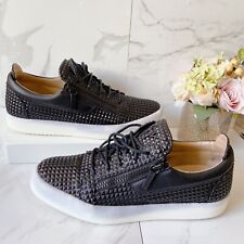 Giuseppe Zanotti Black Studded Leather May London Zip LOGO Sneaker EU 47 US 14