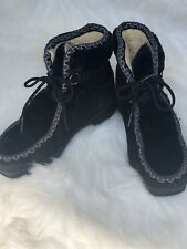 Snowland Womens Warm Faux Fur Black Boots Ankle Lace Up Snow Winter Size 7