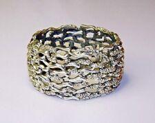 ~ TORTOLANI 1960'S BRACELET FABULOUS Silver Plate Heavy HINGED SCARCE SIGNED ~