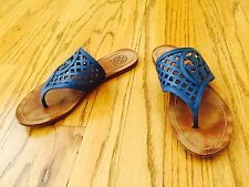 TORY BURCH THATCH THONG LOGO 6 Blue Summer SANDAL Slippers Authentic Used in Box