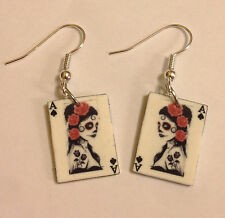 Day of the Dead Earrings Ace of Spades Charms