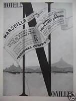 PUBLICITÉ 1935 HOTEL DE NOAILLES MARSEILLE LA CANEBIÈRE CHAMBRES SALLE DE BAINS