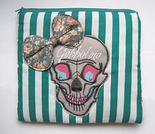 GOBBOLINO GREEN STRIPE SKULL MAKE UP BAG VANITY CASE PURSE EMO PUNK GOTH VINTAGE