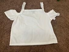 FRENCH TOAST WHITE COLD SHOULDER CROP TOP BLOUSE BOXY FIT COTTON SIZE 7 NEW