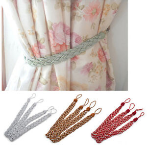 2 Pack Window Stylihs Colors V-Cord Braided Rope Curtain Tieback Decoration FM