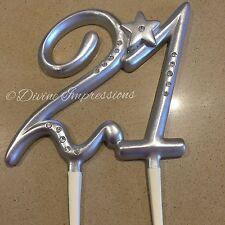 21 21st Birthday Anniversary Cake Topper Silver/Grey Diamante/Rhinestone Star