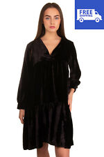 DIXIE Velvet Trapeze Dress Size S Black Unlined Gathered V-Neck Made in Italy