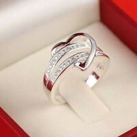 Newest Bling Silver Gemstone Heart Love Women Wedding Ring Size 6 7 8 9 Gift