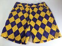 Loudmouth Shorts Golf LSU Geaux Tigers Mens 32 Argyle Purple Gold Diamonds