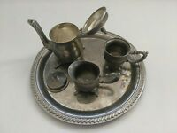 GODINGER Silverplate Art CO LTD Silver Plated 4 Piece Tea Set w/Tray  Miniature