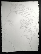 1986 ANDY WARHOL ORIGINAL AUTHENTICATED LARGE PORTRAIT DRAWING MUSEUM FRAMED