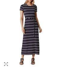 Karen Miller Striped Belted Midi Dress   Navy Blue White Multi Stripe   Sz 4