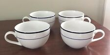 Crate and Barrel 4 Coffee Cappuccino Cups White w/ Navy Blue Stripe