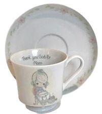 Precious Moments Tea Cup Mother Mom Coffee Mug Saucer Thank God For Vintage 1984