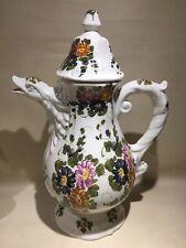 Ancien Grand Pichet/cruche Ceramique decor Floral Bec Canard