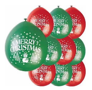 Merry Christmas Red & Green 9'' Latex Balloons - Pack of 10