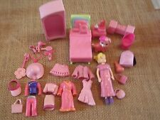 """Polly Pocket Lot """"Colors of the Rainbow"""" Pink Doll Furniture Clothes Pet X12"""