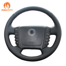 Black Artificial Leather Steering Wheel Cover Wrap for Ssangyong Rexton W Rodius