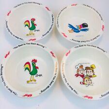 Vintage Kellogg Cereal Bowls Set of 4 - Snap Crackle Pop, Corny, Toucan Sam 1995